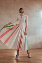 Load image into Gallery viewer, Pink Rainbow Pleat Midi Dress