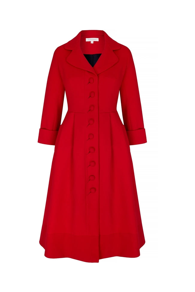 Princess Coat Dress Flag Red Wool Crepe