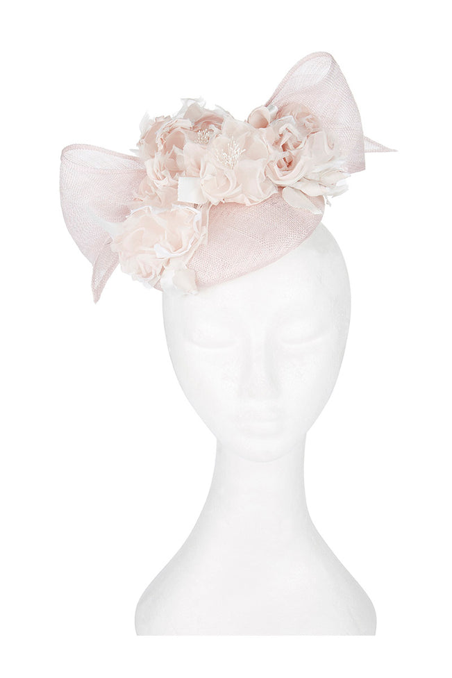 Floral Bow Pill Box Hat in Soft Pinks