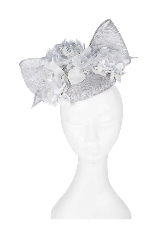 Floral Bow Pill Box Hat French Blue