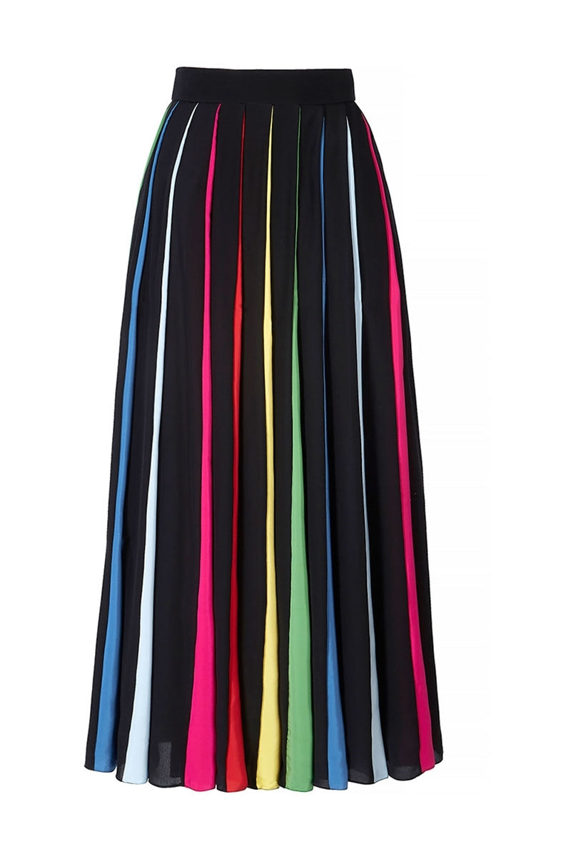 Rainbow Pleated Silk Skirt
