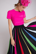 Load image into Gallery viewer, Rainbow Pleated Silk Skirt
