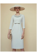 Load image into Gallery viewer, Soft Cowl Neck Wool Crepe Dress Eucalyptus