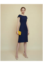 Load image into Gallery viewer, Colette Sleek Navy Wool Crepe