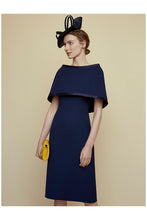 Load image into Gallery viewer, Colette Sleek and Capelet Dress Navy Blue Wool Crepe