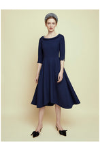 Load image into Gallery viewer, Wave Roll Scoop Dress Navy Wool Crepe