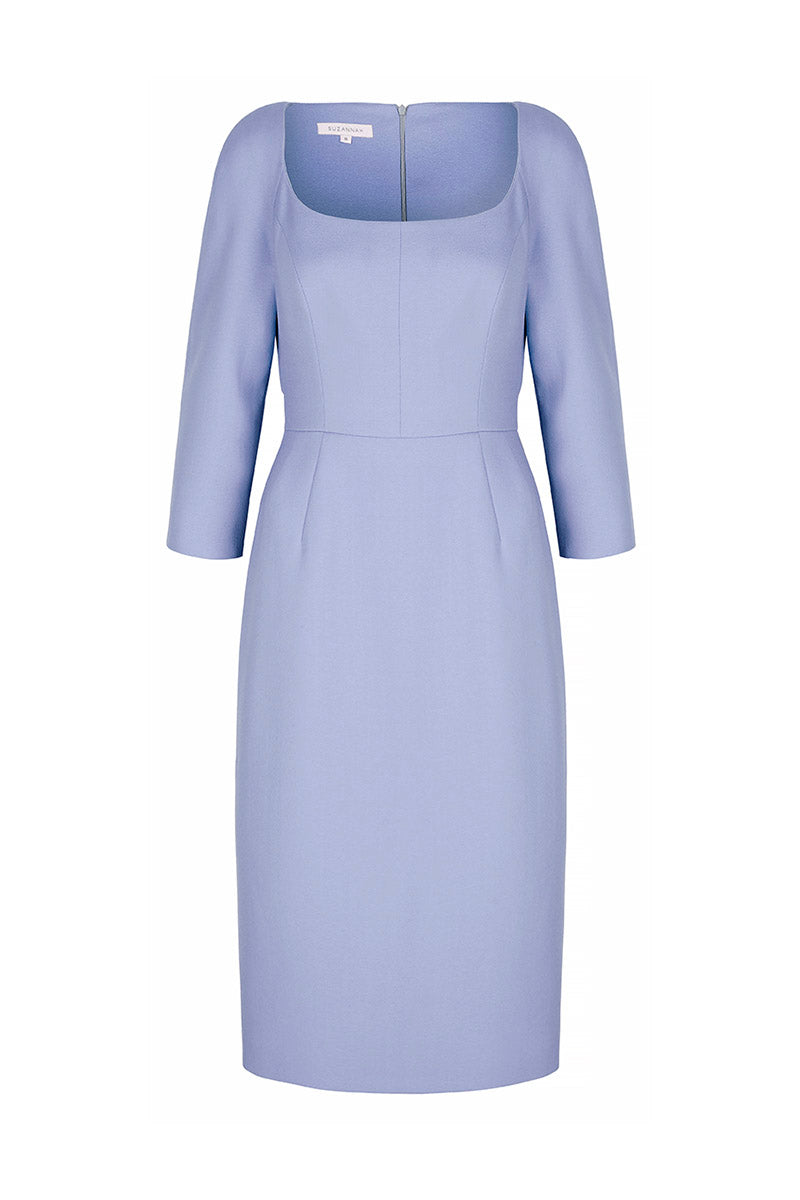 Selena Wool Crepe Shift Dress Cornflower Blue