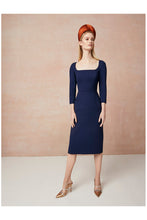 Load image into Gallery viewer, Selena Wool Crepe Shift Dress Navy
