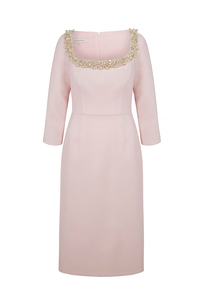 Selena Dress with Sea Pearls Pink