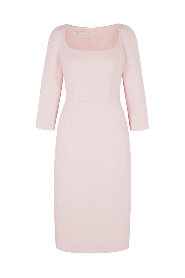 Selena Wool Crepe Shift Dress Pink