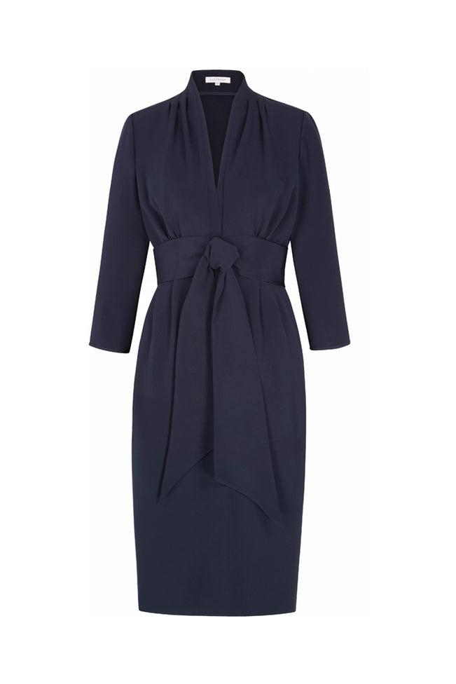 Silk Crepe 1940s Influence Dress Navy