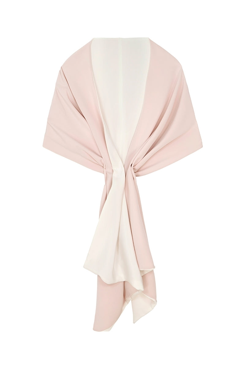 Silk Crepe Double Sided Wrap Blush & Ivory