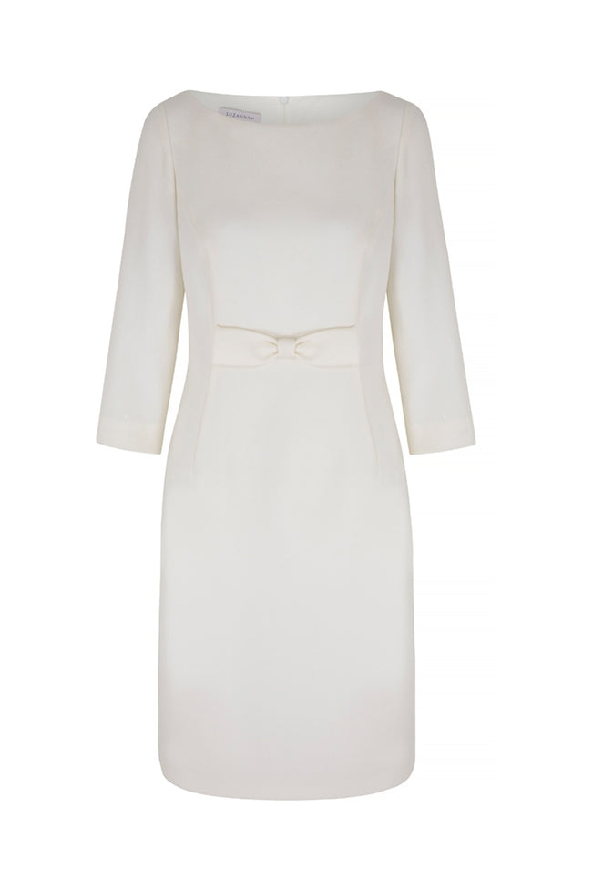 Snap Dress Ivory Wool Crepe