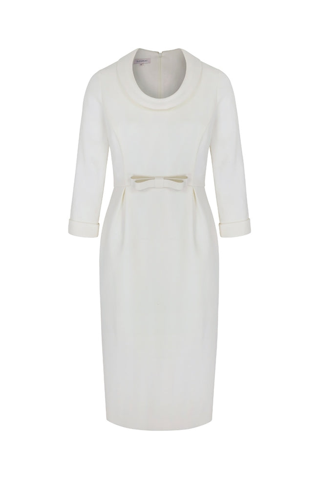 Soft Cowl Neck Wool Crepe Dress Ivory