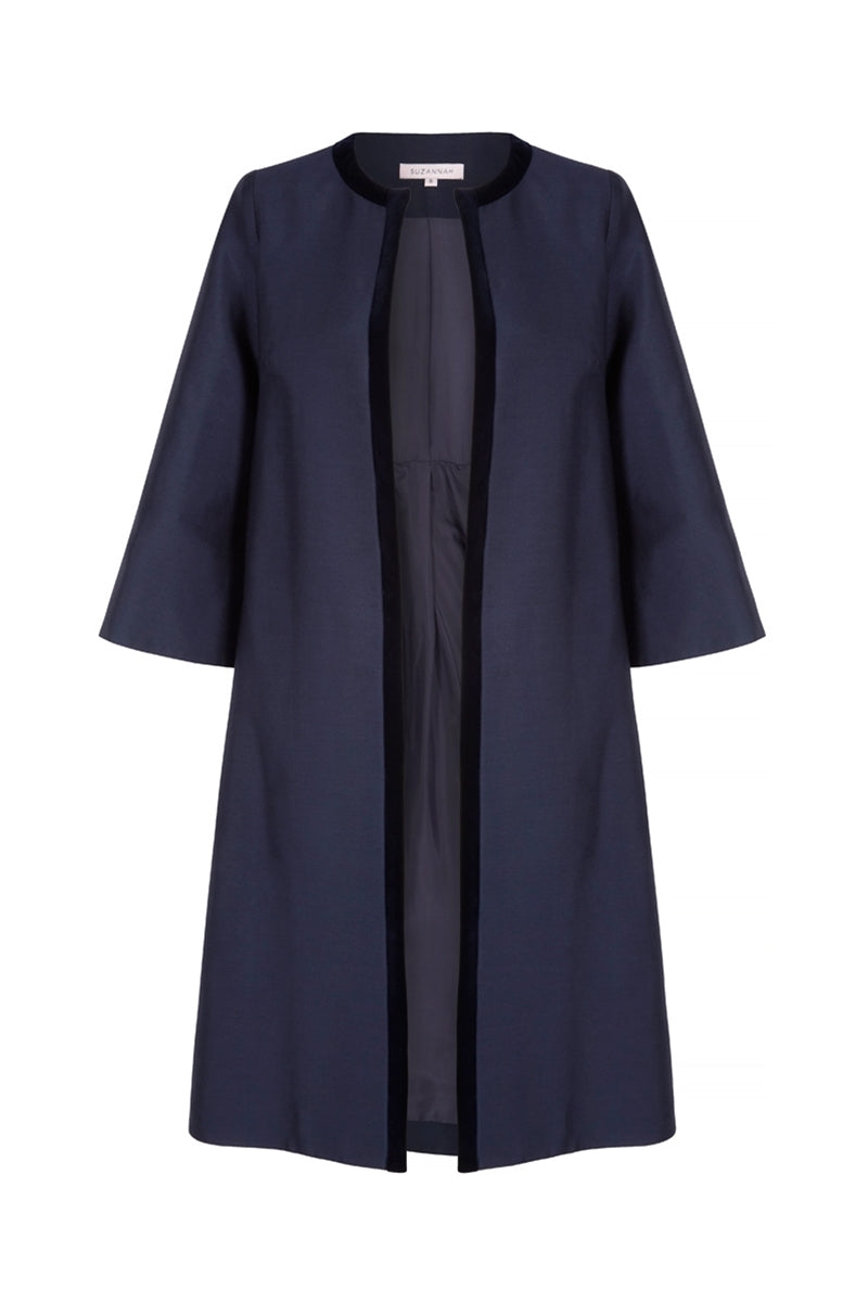 Soldier Trapeze Coat Navy Blue