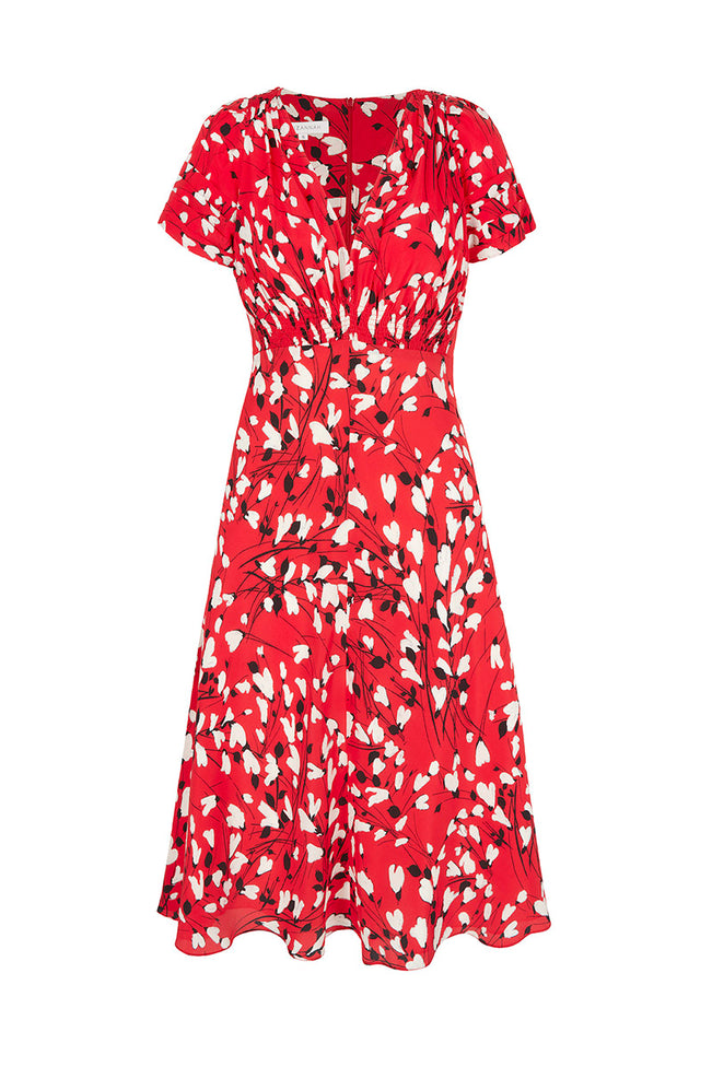 Stormy Hearts Tea Dress Red
