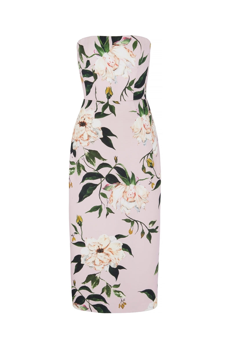The Mulligan Strapless Floral Dress