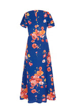 Load image into Gallery viewer, Painted Sapphire Poppies Silk Midi Tea Dress