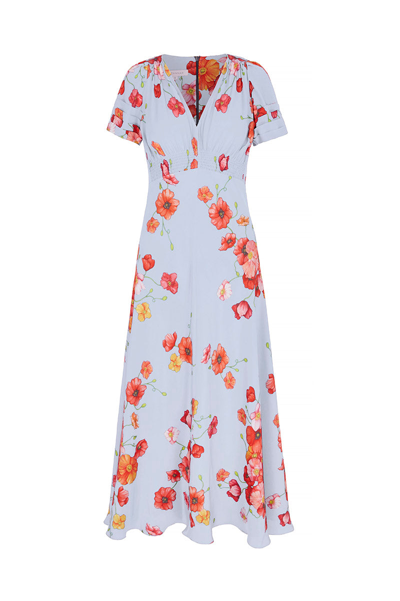 Painted Powder Poppies Silk Midi Tea Dress