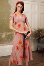 Load image into Gallery viewer, Tea Rose Poppy Midi Silk Tea Dress