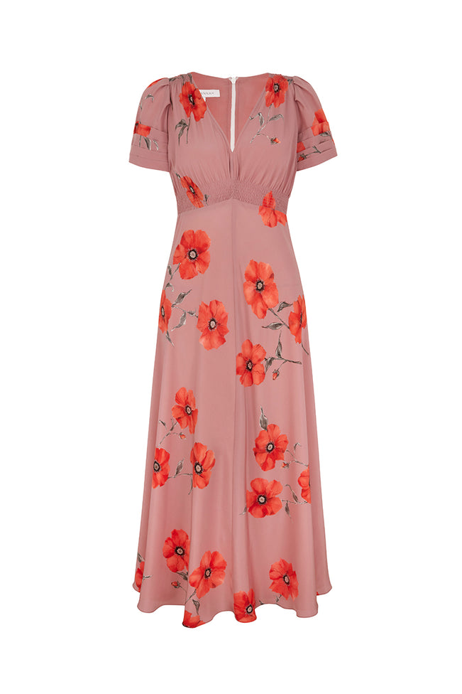 Tea Rose Poppy Midi Silk Tea Dress