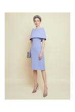 Load image into Gallery viewer, Colette Sleek and Capelet Dress Cornflower Wool Crepe