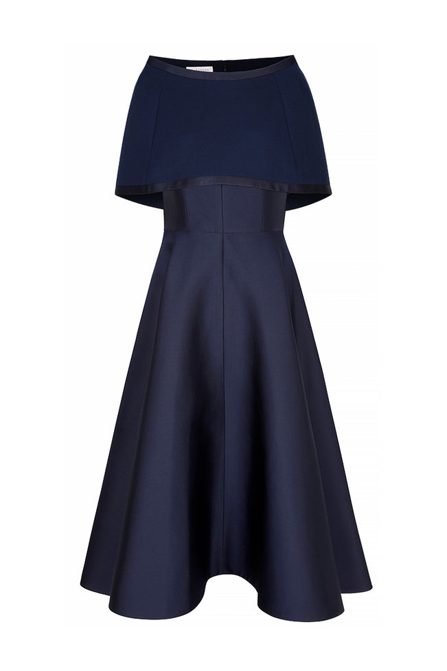 V-Curve Cocktail Dress With Capelet Navy