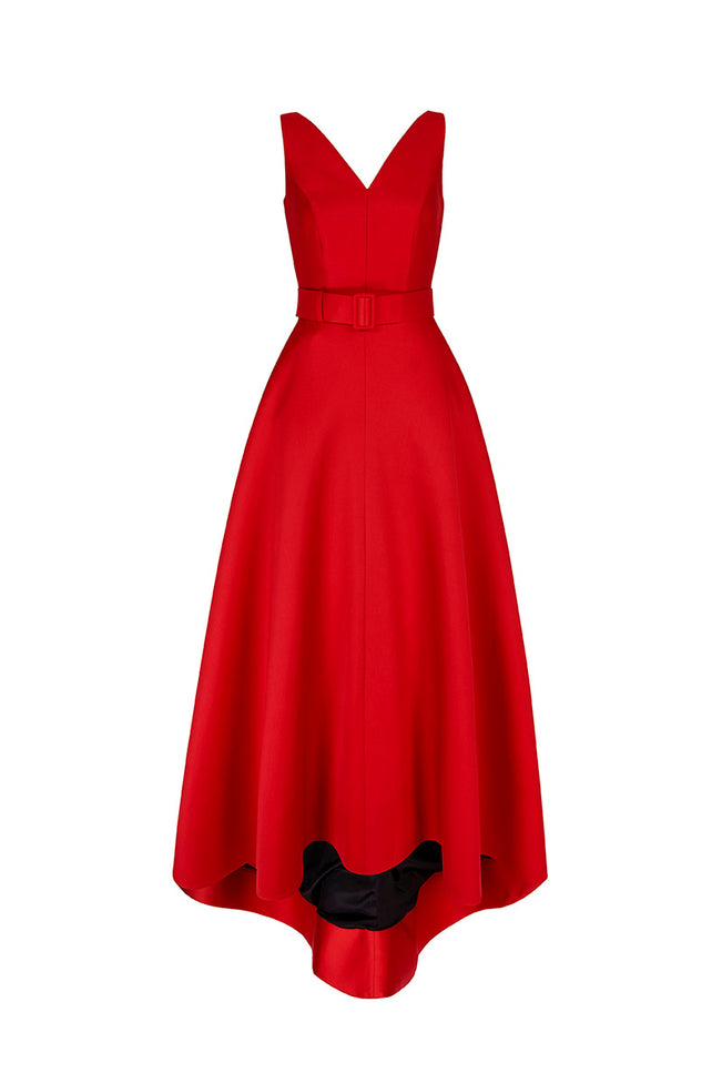 V Curve Long Gown Red