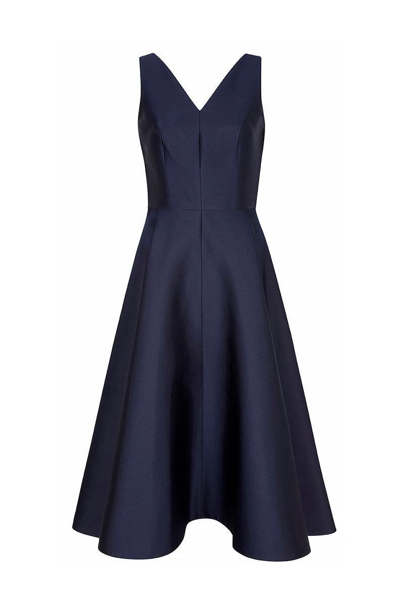 V Curve Navy Cocktail Dress