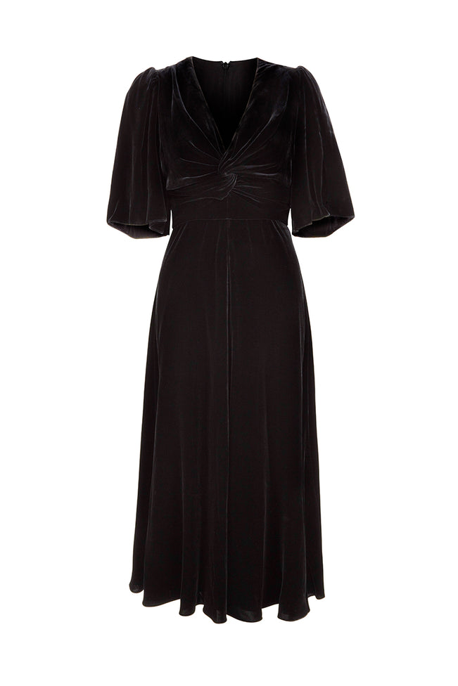 Paige Midi Dress Black Velvet