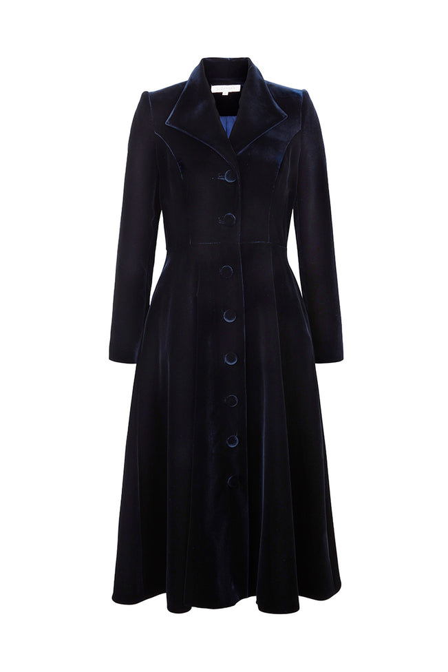 Hunter Coat Dress Navy Velvet