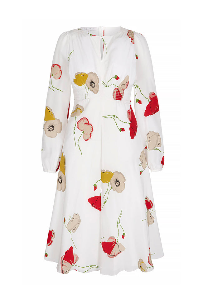 Odette Vintage Poppy Silk Tea Dress Ivory