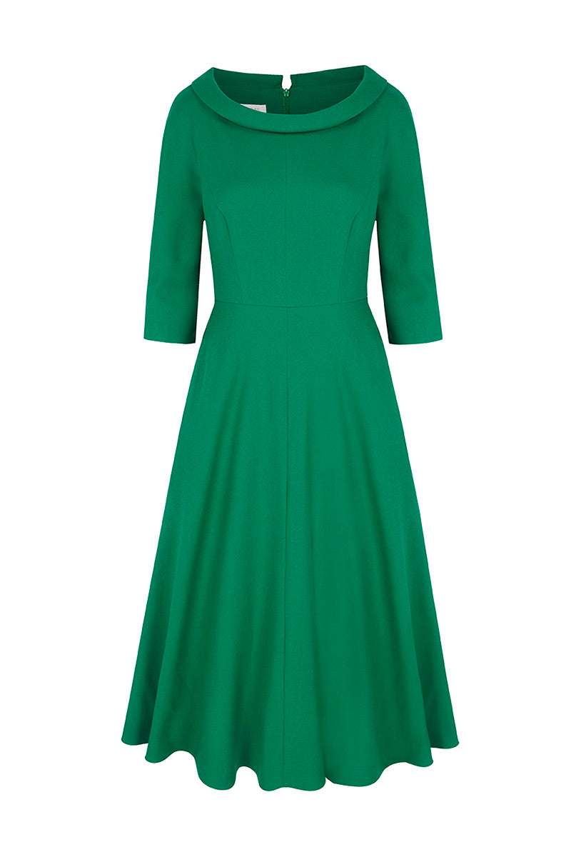 Wave Roll Scoop Dress Emerald
