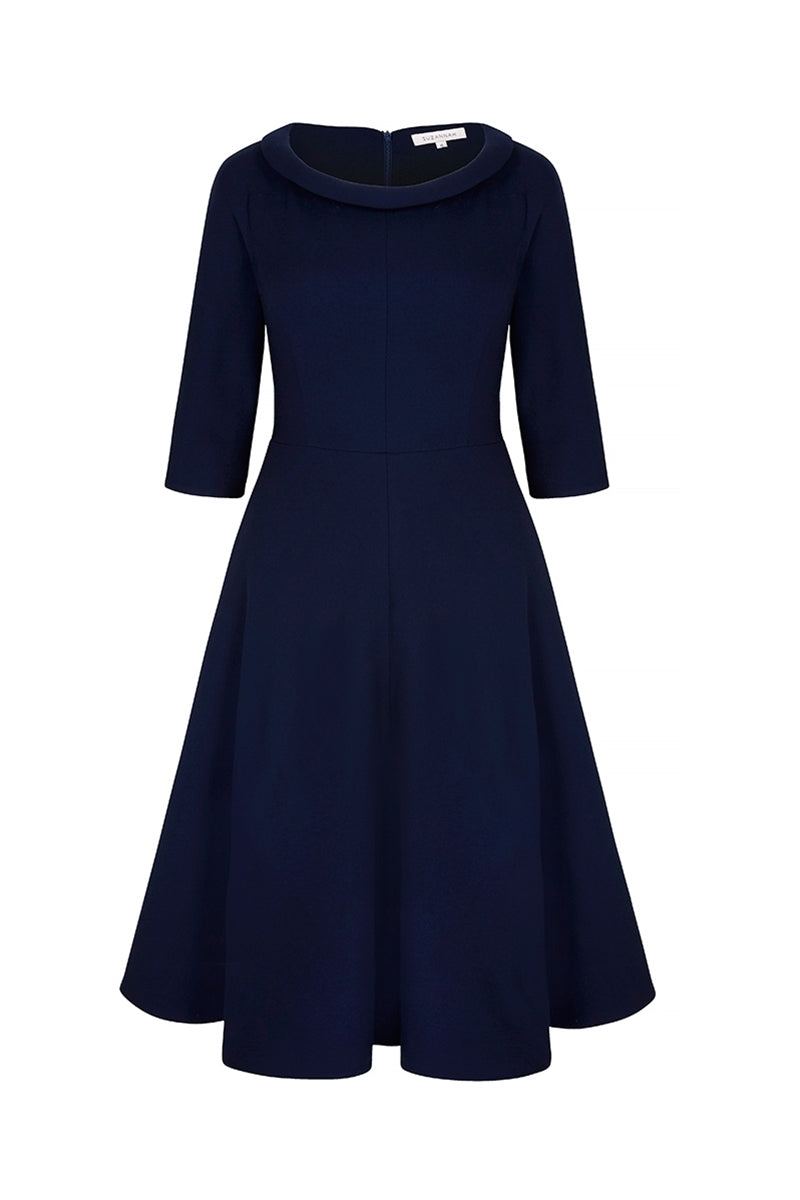 Wave Roll Scoop Dress Navy Wool Crepe
