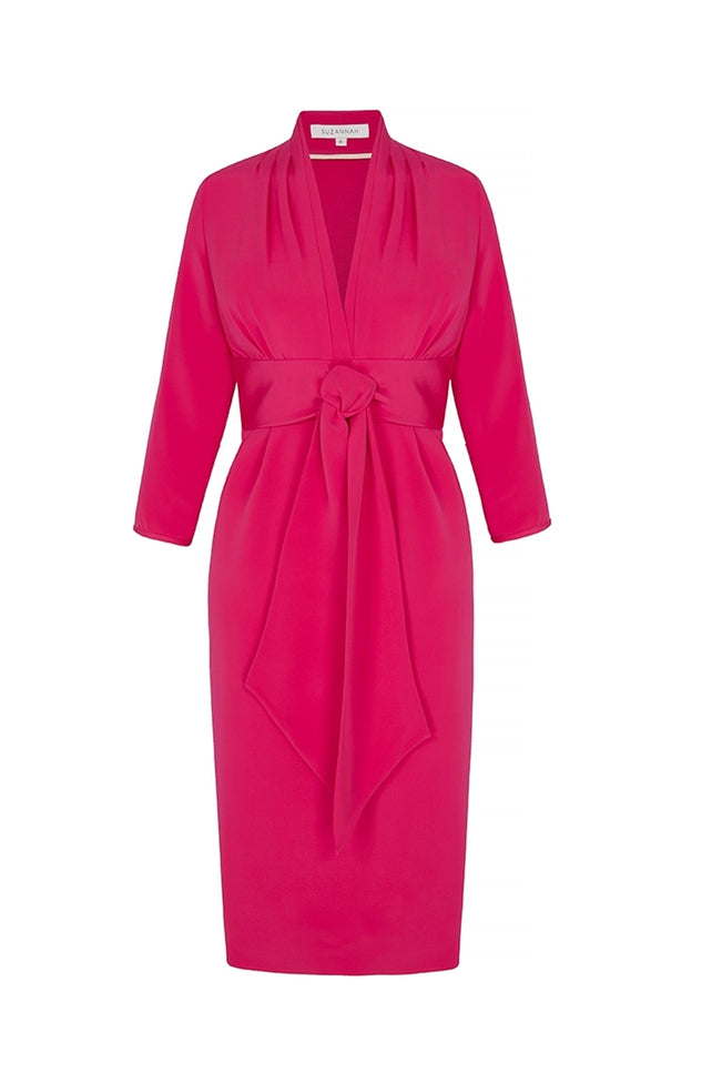 Silk Crepe 1940s Influence Dress Wink Pink