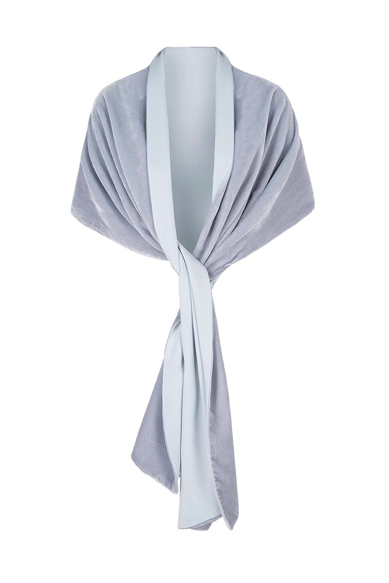 Velvet and Silk Crepe Wrap Powder Blue