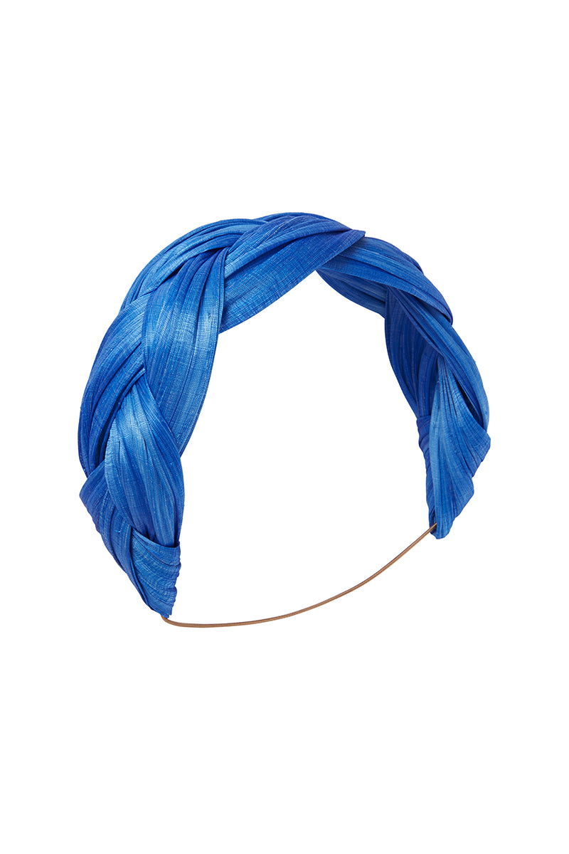 Azure Blue Abaca Plaited Band