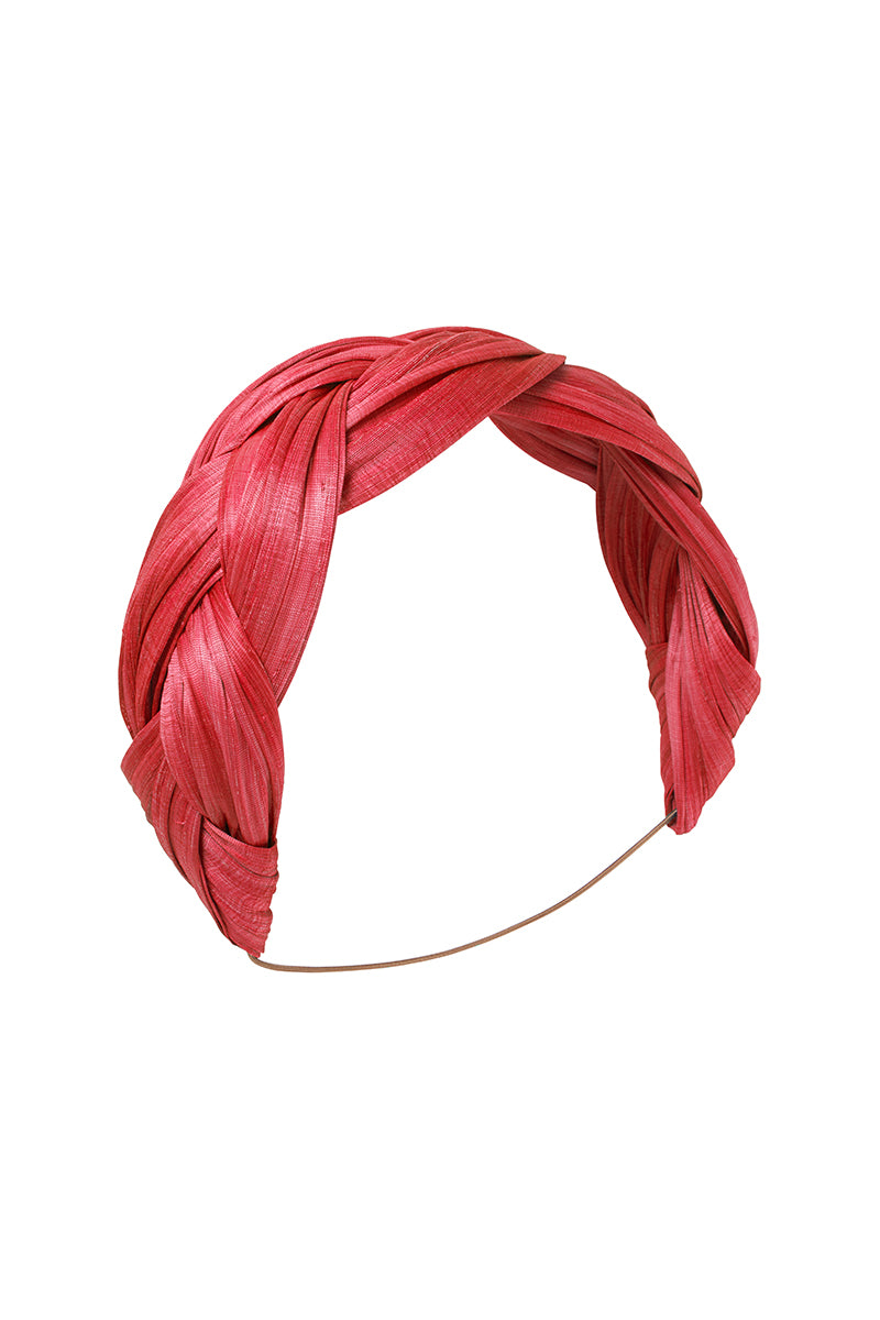 Red Abaca Plaited Band
