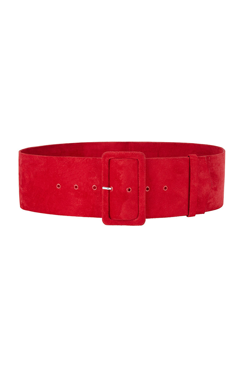 Red Suede Wide Waist Belt