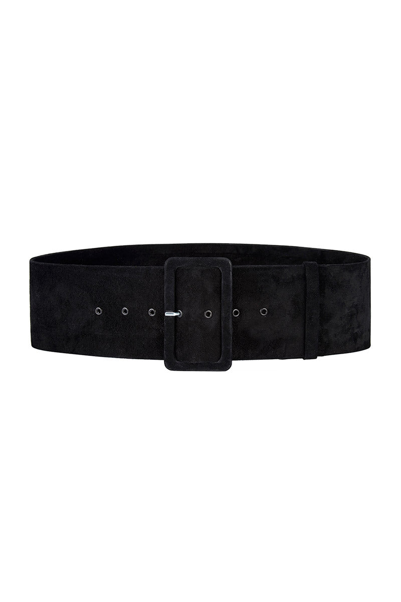 Black Suede Wide Waist Belt