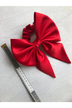 Load image into Gallery viewer, Silk Bow Hair Scrunchie Red