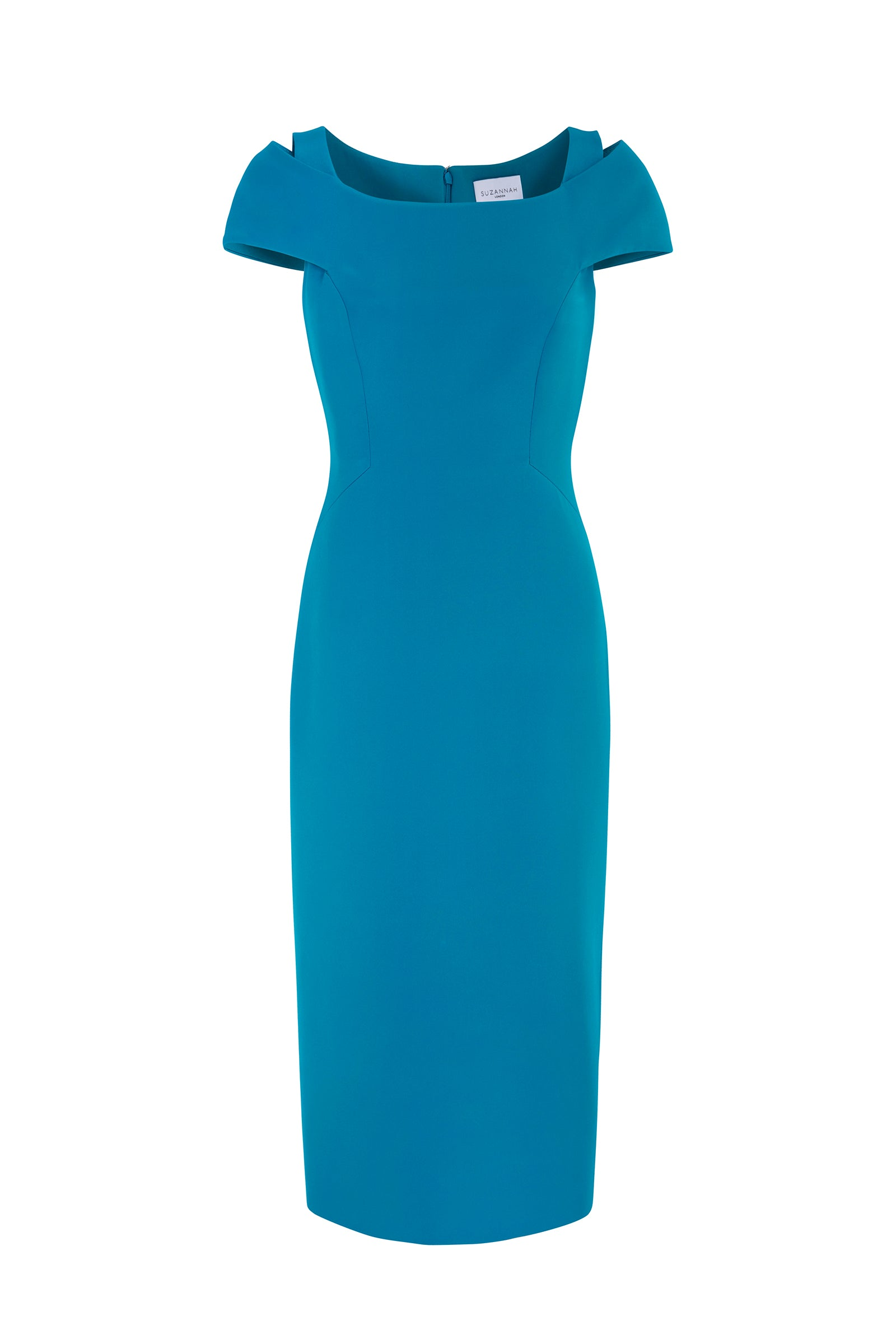Colette Silk Crepe Cocktail Shift Dress Turquoise