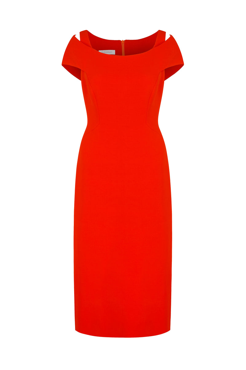 Colette Structured Cocktail Shift Dress Pimento Red