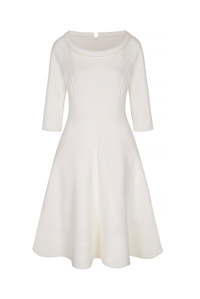 Wave Roll Scoop Dress Ivory Wool Crepe