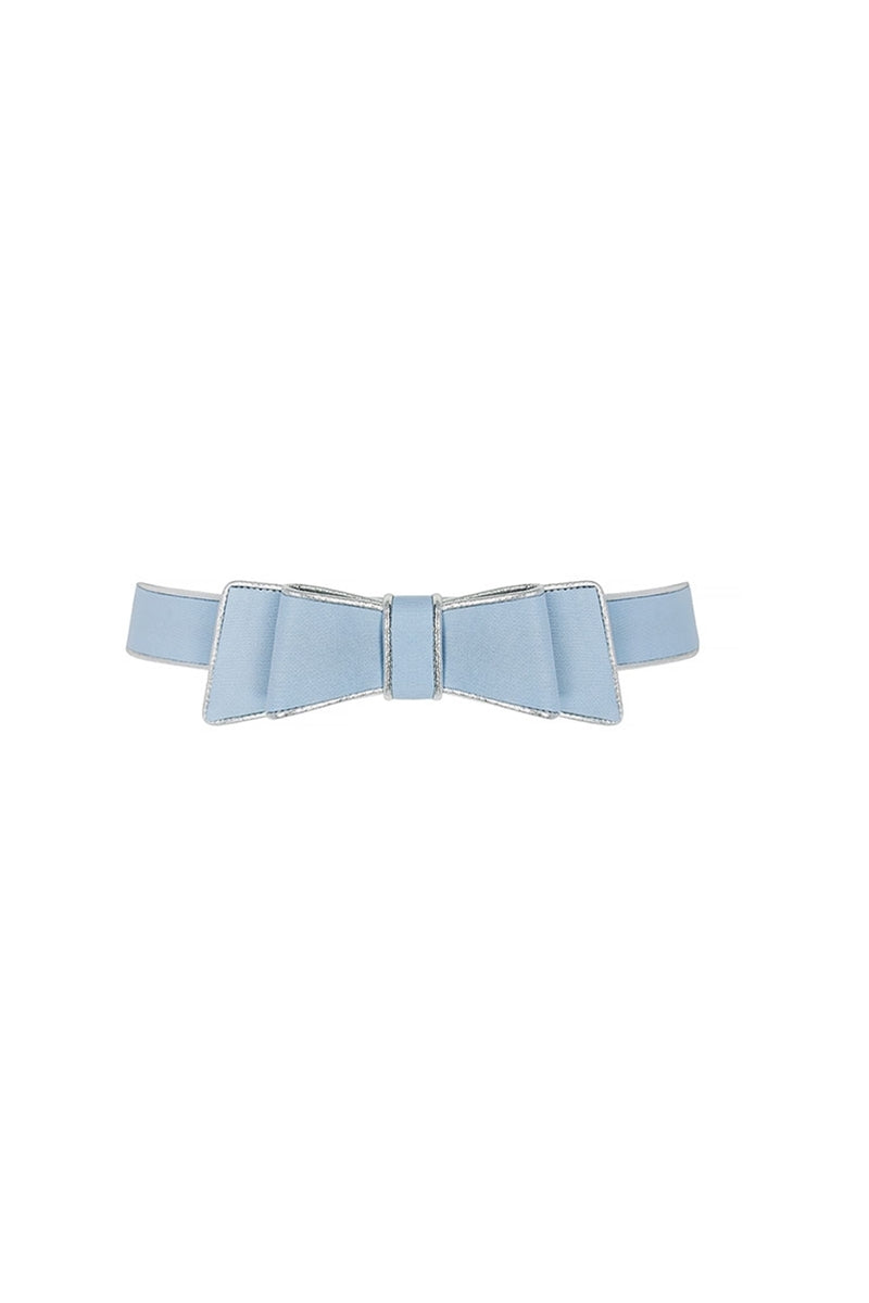 Silk Gazar Bow Belt With Metallic Piping