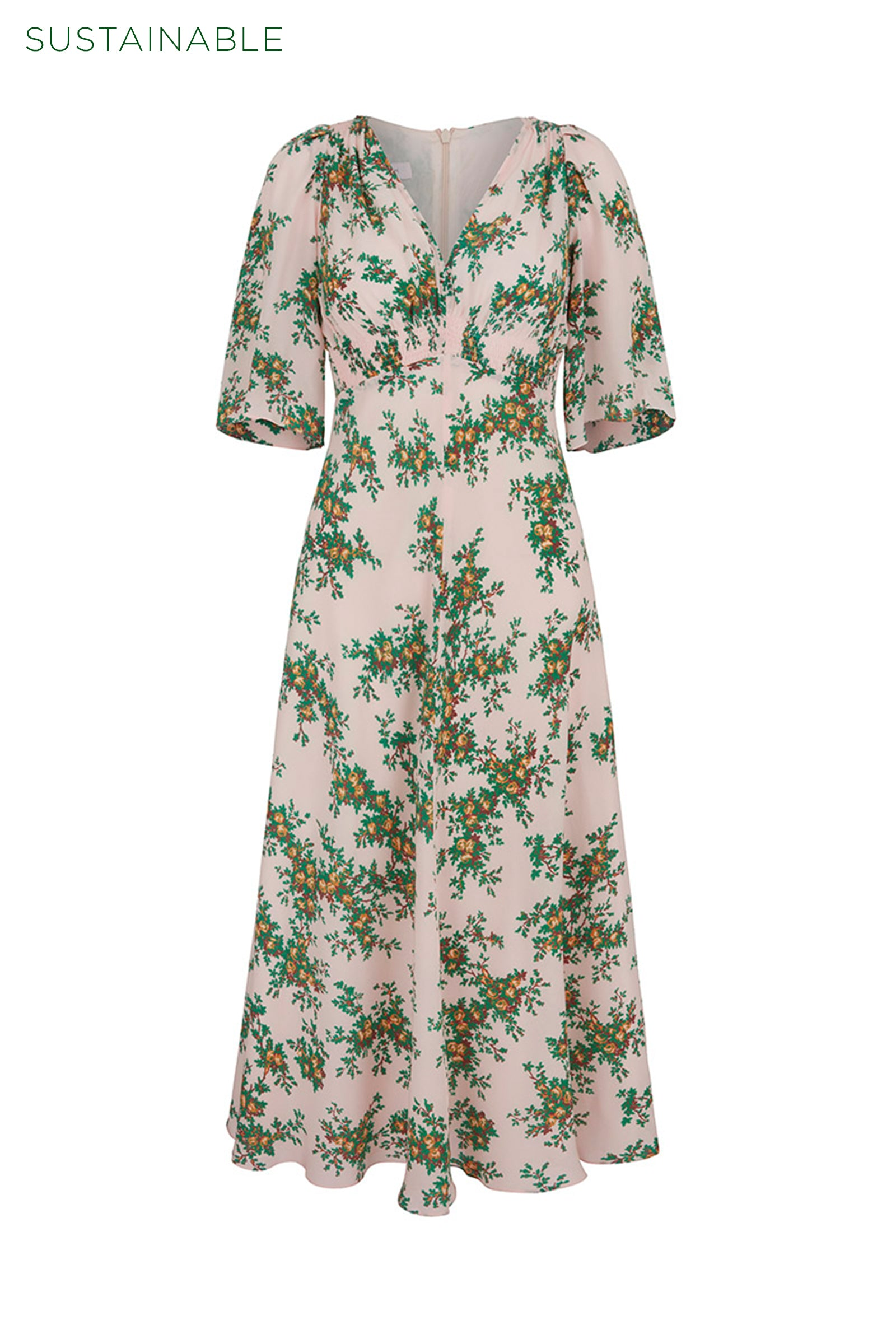 Far Away Floral Organic Silk Tea Dress