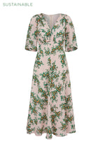 Load image into Gallery viewer, Far Away Floral Organic Silk Tea Dress