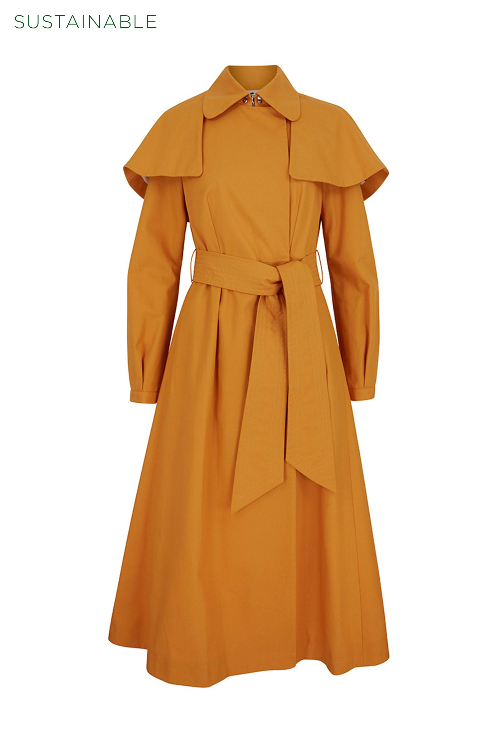 Capey Trench Coat Ochre Sustainable