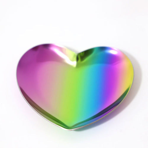 Stainless Steel Heart Shaped Candle Tray Plate
