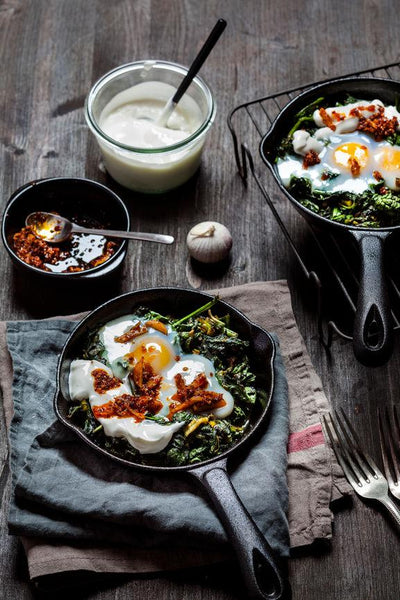 Breakfast in Bed Threads: Green Shakshuka with Poached Eggs, Chilli Butter and Spiced Yoghurt